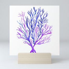 Blue Purple Watercolour Seaweed Mini Art Print