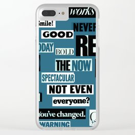 BLUE WORDS OF WISDOM Clear iPhone Case