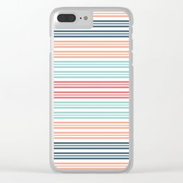 Coral Beach Stripe 2 Clear iPhone Case