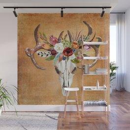 Boho Flower Skull on Ocre Canvas Wall Mural