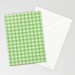 3D Optical Illusion: Green Dodecahedron Pattern Stationery Cards