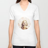 low poly V-neck T-shirts featuring Marilyn low poly by Pinkpulp