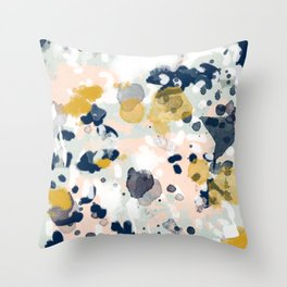 Noel - navy mint gold painted abstract brushstrokes minimal modern canvas art painting Throw Pillow
