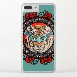 Masquerade Bengal Tiger Mandala Clear iPhone Case