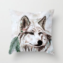 Wolf guide Throw Pillow