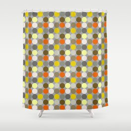 Mid-Century Giant Dots, Gray, Gold and Orange Shower Curtain