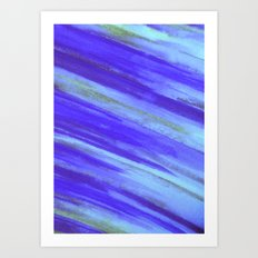 WASHED UP - Bold Blue Stripes Abstract Watercolor Painting Colorful Fun Surfer Ocean Waves Art Print