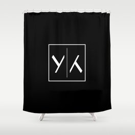 """ Mirror Collection "" - Minimal Letter Y Print Shower Curtain"