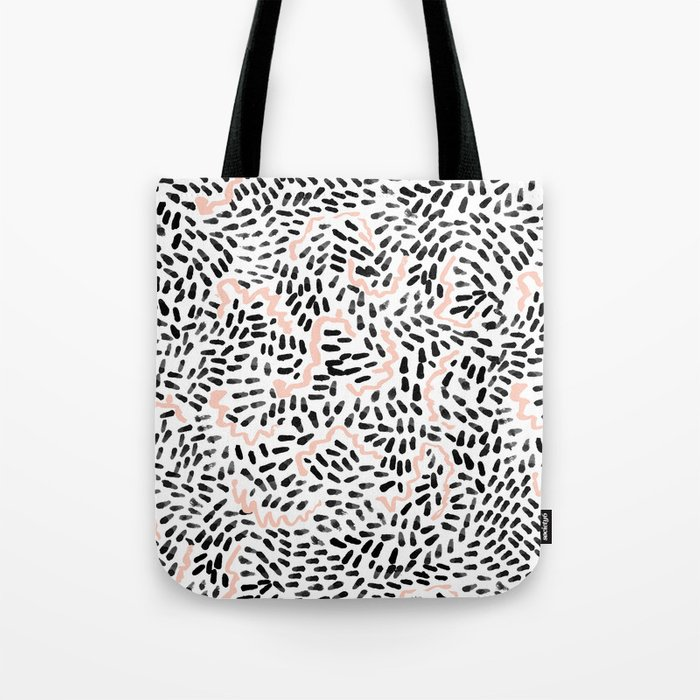 Helena - black white rose quartz abstract squiggle dot mark making painting brushstrokes minimal  Tote Bag