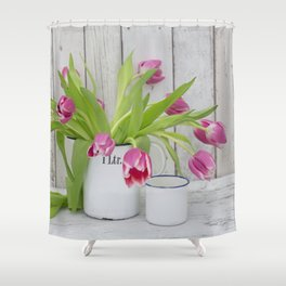pink spring tulip still life country style Shower Curtain