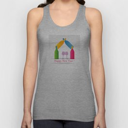 New year greetings with House formed with many colorful bottles and glasses Unisex Tank Top