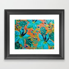 BLOOMING BEAUTIFUL 2 - Modern Abstract Acrylic Tropical Floral Painting, Home Decor Gift for Her Framed Art Print