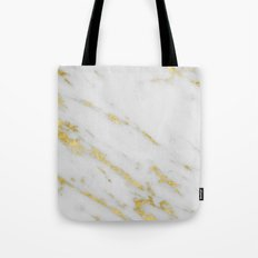 Marble - Shimmery Gold Marble on White Pattern Tote Bag