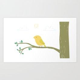 Yellow bird on branch Art Print