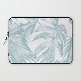 Blue Tropical Palm Leaves Print Laptop Sleeve