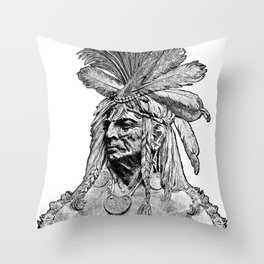 Chief / Vintage illustration redrawn and repurposed Throw Pillow