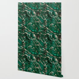 Modern rose gold marble green emerald watercolor pattern Wallpaper