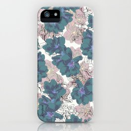 Faded Hibiscus on White iPhone Case