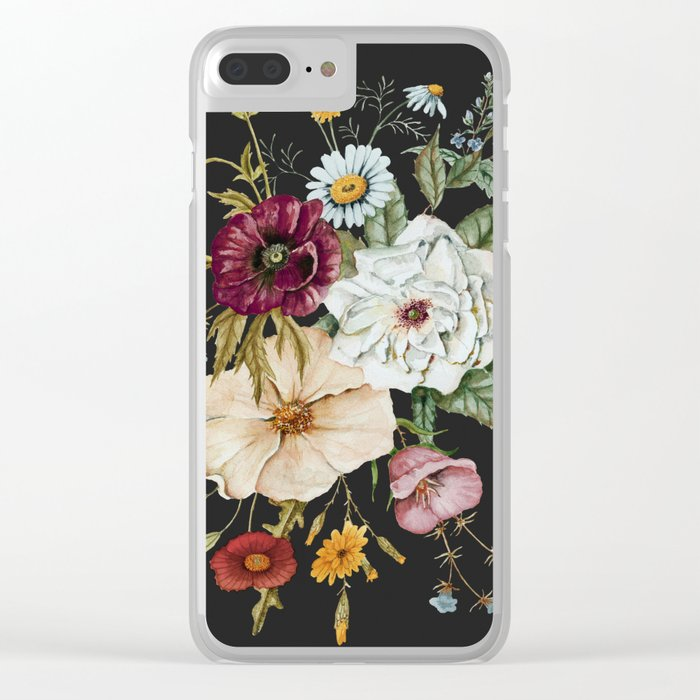 Colorful Wildflower Bouquet on Charcoal Black Clear iPhone Case
