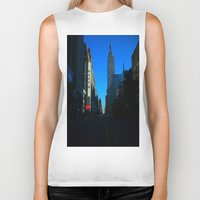 gotham Biker Tanks featuring Gotham City by The Electric Blve / YenHsiang Liang