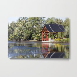 Peaceful Pagoda Metal Print