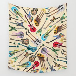 Electric Guitars Pattern Watercolor Wall Tapestry