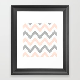 PEACH & GRAY CHEVRON Framed Art Print