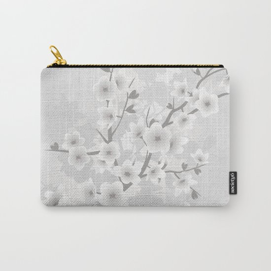 Warm Gray Floral Cherry Blossoms Carry-All Pouch