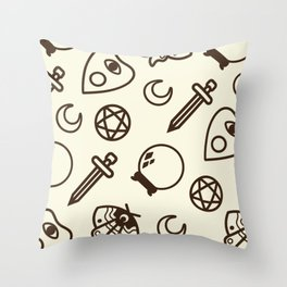 Witchy Vintage Pattern - Cream Throw Pillow
