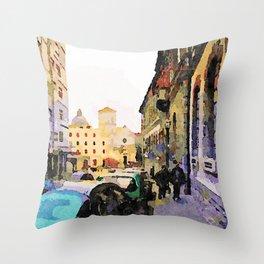 Catanzaro: course with cathedral Throw Pillow