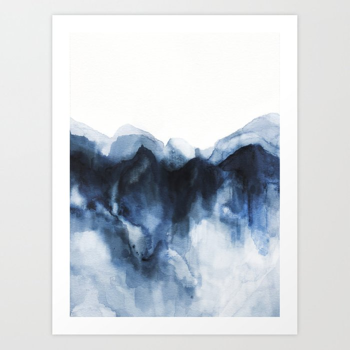 Abstract Indigo Mountains Art Print By Jenmerli Society6
