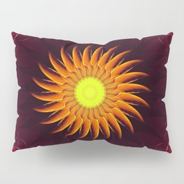 A Floral Sun Mandala of a Thousand Ruby Red Roses Pillow Sham