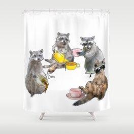 Racoon Tea Party Shower Curtain
