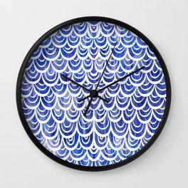 Watercolor Mermaid Blue Sapphire Wall Clock