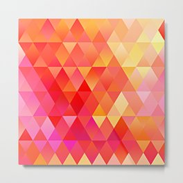 Hot Pink Bright Orange Diamond Triangles Mosaic Pattern Metal Print