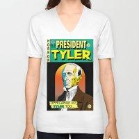 tyler spangler V-neck T-shirts featuring John Tyler by @DrunkSatanRobot