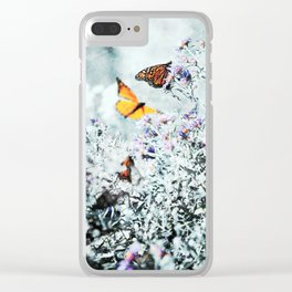 Monarch Butterflies and Purple Aster Flowers Teal Clear iPhone Case