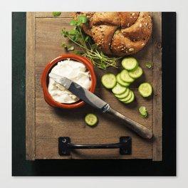 making vegetarian sandwiches Canvas Print