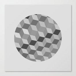 RUBIX - Mid Century Modern Gray Pattern Graphic Canvas Print