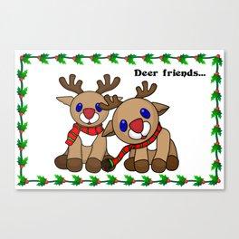 Deer friends holiday greetings Canvas Print
