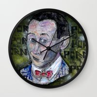 pee wee Wall Clocks featuring pee wee by Roosterface