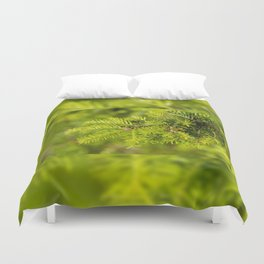 Green coniferous fresh shoots detail Duvet Cover