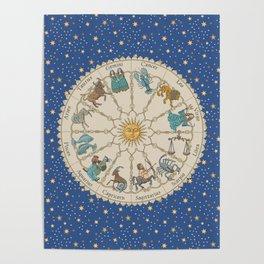 Vintage Astrology Zodiac Wheel Poster