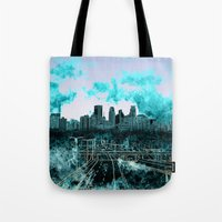 minneapolis Tote Bags featuring minneapolis city skyline by Bekim ART