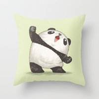 panda Throw Pillows featuring Panda by Toru Sanogawa