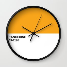 Tangerine Pantone Chip • Orange • Warm Tones • Summertime • Modernist • Minimal • Graphic Designer Wall Clock