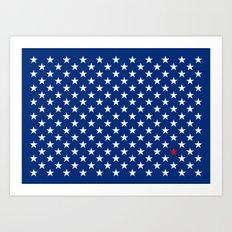 Red Star & White Stars on Blue Art Print