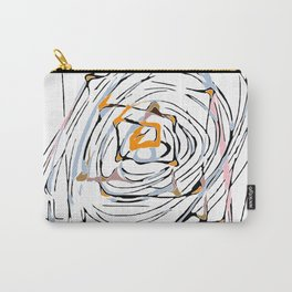 drawing square triangle and circle pattern abstract in orange blue and pink Carry-All Pouch
