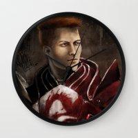 """dragon age inquisition Wall Clocks featuring Krem - Dragon Age/Mass Effect crossover by Barbara """"Yuhime"""" Wyrowińska"""