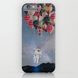 The Astronaut-Floating Away With Balloons iPhone Case